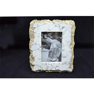 Portarretratos diseño marmol blancos de 21x3x25/10x15x3cm