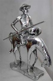 Quijote montado en Rocinante plateado 25cm