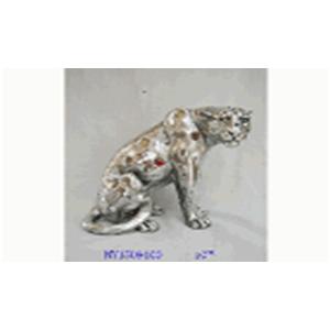 Leopardo de resina plateada con espejos de 23x13x21.1x20cm