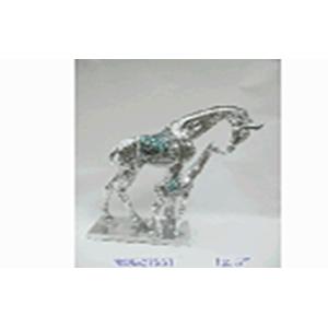 Jirafa con cría en base plateada con incrustaciones de 22x11x31cm