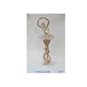 Escultura de Bailarina electroplateada c/incrustación de concha de 60x14x12cm