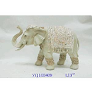 Figura de elefante de resina beige de 34x21cm