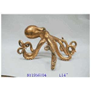 Pulpo de resina dorado de 18x22x37.1cm