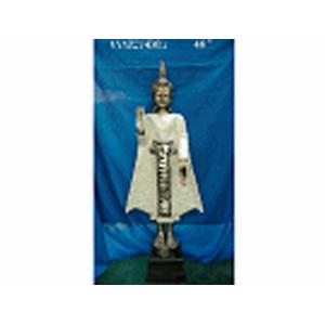 Buda de resina parado blanco con espejos de 109cm