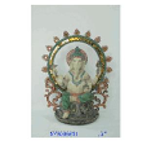 Ganesh en círculo de resina de 25x15x30cm