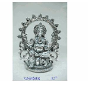 Ganesh sentado plateado de resina de 30x11x34cm