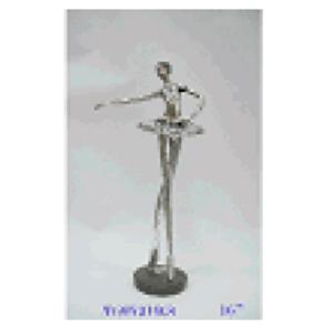 Bailarina Plateada de resina de 19x11x39cm