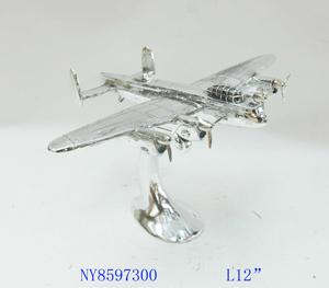 Decoración de Avión plateado de 31x23x19cm
