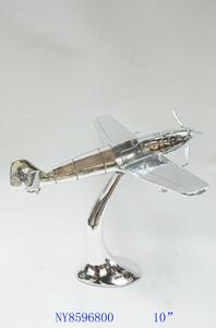 Decoración de Avioneta plateada de 31x29x26cm