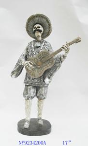 Figura de esqueleto tocando Guitarra de 25x13x42cm