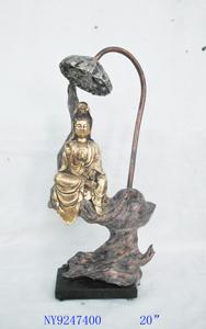 Lámpara de Buda sentado en piedra de 23x16x51cm