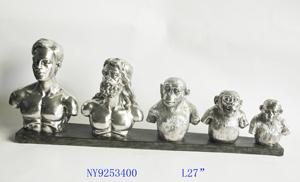 Decoración de Torsos de la evolución de hombre de 70x11x25cm