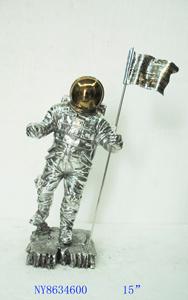Figura de Astronauta plateado con bandera de 41x26x18cm