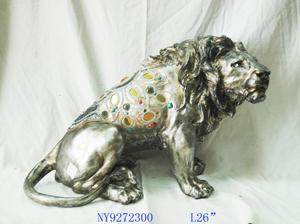 Figura de Leon plateado 62x34x43cm