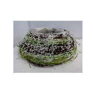 Maceta de ramas y follaje verde nevado de 25x25x9cm