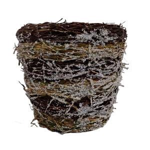 Maceta cilíndrica de raíz con musgo nevado de 20x20x17cm
