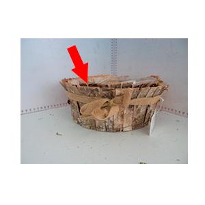 Maceta redonda de corteza de madera de 23x23x8cm