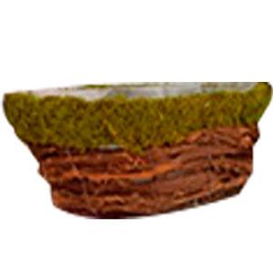 Maceta diseño lancha forrada de varas con musgo verde de 36x18x12cm