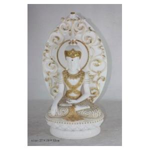 Buda de resina sentado en flor de loto blanco c/dorado de 27x19x53cm