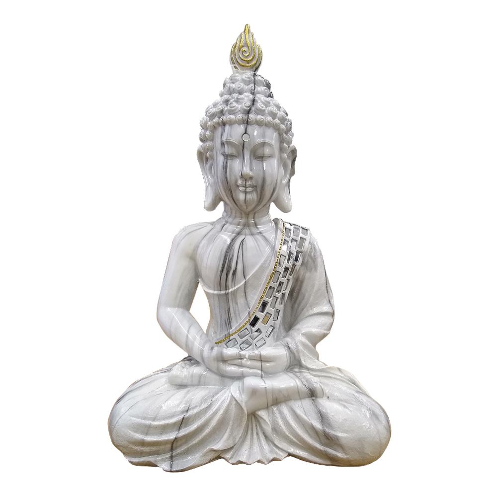 Buda de resina sentado diseño mármol de 38x16x30cm