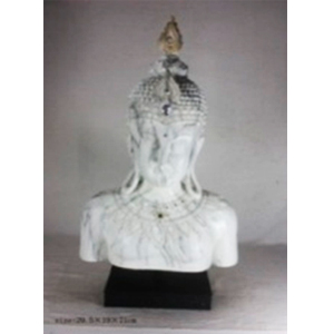 Busto de Buda blanco con base negra de 29x29x71cm