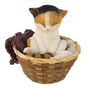Canasta con Gato sentado de 24x13x14cm