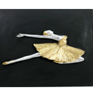 Cuadro de bailarina de ballet dorada con plata de 40x40x3cm