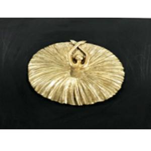 Cuadro de bailarina de ballet dorada de 40x40x10cm
