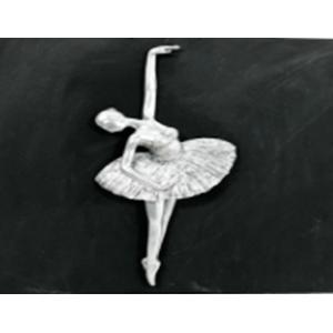 Cuadro de bailarina de ballet  plata de 40x40x10cm