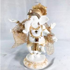 Figura de Ganesh parado blanco con dorado de 30x12x32