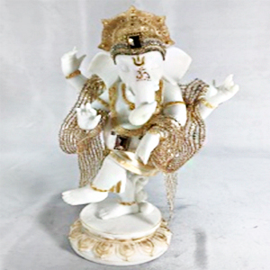 Figura de Ganesh parado blanco con dorado de 20x12x32cm