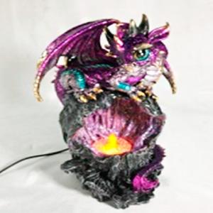 Decoración de dragón morado con luz led de 17x15x28cm