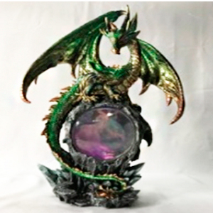 Decoración de dragón y esfera con luz de 28x18x44cm