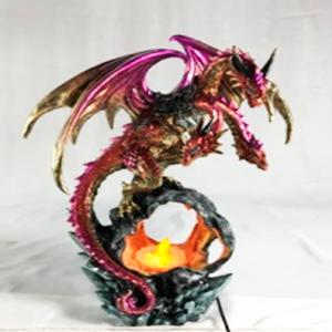 Decoración de dragón rosa con luz led de 25x17x34cm