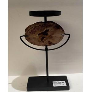 Candelabro de metal negro con decoración de cuarzo de 13x7x21cm