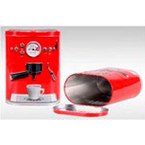 Caja de lámina c/tapa diseño Máquina de Café roja de 17.2x10.2x22.3cm