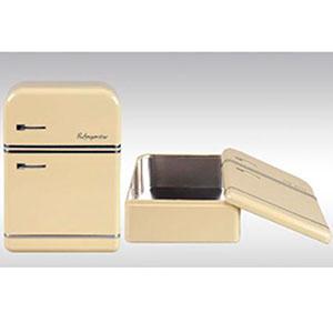 Caja de lámina con tapa diseño Refrigerador antiguo beige de 25x17.5x7cm