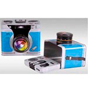 Caja de lámina con tapa diseño Cámara Fotográfica azul de 18.4x14.2x14.8cm