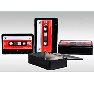 Caja de lámina con tapa diseño Casete negro de 27.5x17.5x7cm