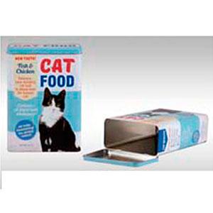 Caja de lámina con tapa p/comida de gato de 18x10x24.5cm