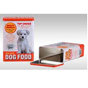 Caja de lámina con tapa p/comida de perro de 18x10x24.5cm