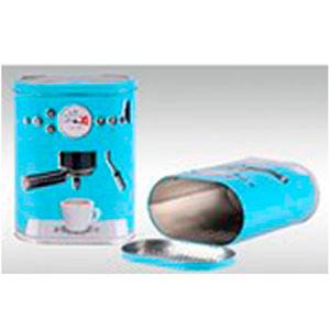 Caja de lámina c/tapa diseño Máquina de Café azul de 17.2x10.2x22.3cm