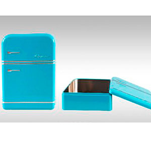 Caja de lámina con tapa diseño Refrigerador antiguo azul de 25x17.5x7cm