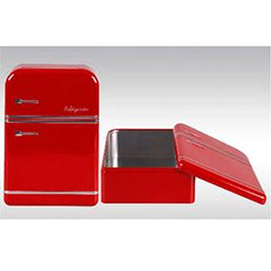 Caja de lámina con tapa diseño Refrigerador antiguo rojo de 25x17.5x7cm