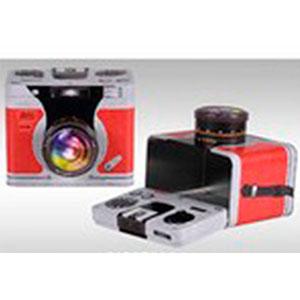 Caja de lámina con tapa diseño Cámara Fotográfica roja de 18.4x14.2x14.8cm