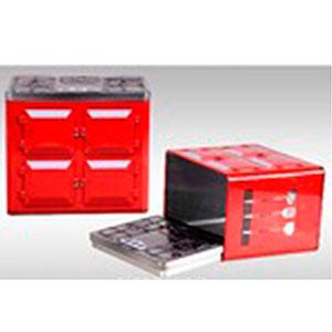 Caja de lámina con tapa diseño Estufa roja de 20x13x17.5cm