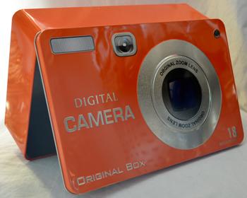 Caja de Lamina diseño Cámara Fotográfica naranja de 27x17x7cm
