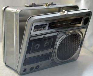 Caja de Lamina diseño Grabadora antigua gris de 22x17x9cm