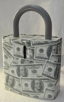 Caja de Lamina diseño Candado tapizado de Dólares de 27x17x7cm