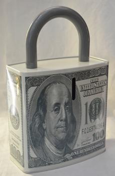 Caja de Lamina diseño Candado con Dólar de 100 de 27x17x7cm